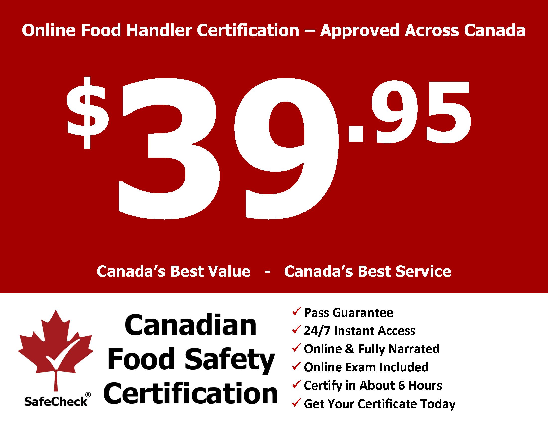 Canadian Food Safety Canadas Best Value Food Handler Certificate